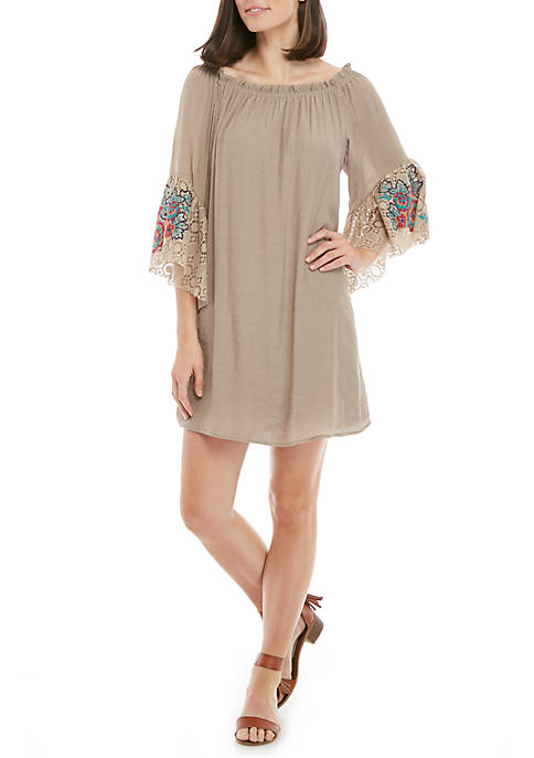 Luxology™ Embroidered Lace Off-The-Shoulder Dress