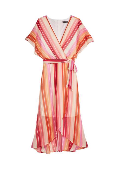Lux II Womens Belted Waist Short Sleeve Chiffon