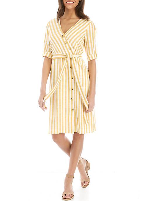 Elbow Sleeve Side Button Linen Stripe Dress