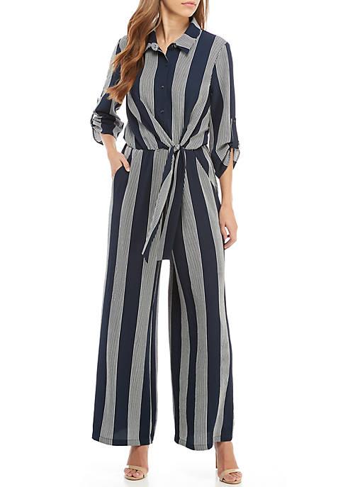 Luxology™ 3/4 Stripe Tie Front Jumpsuit
