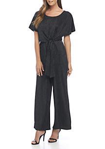 Short Sleeve Metallic Stripe Wrap Jumpsuit