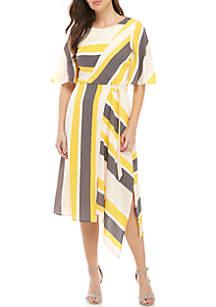 Luxology™ Short Sleeve Stripe Side Tie Dress
