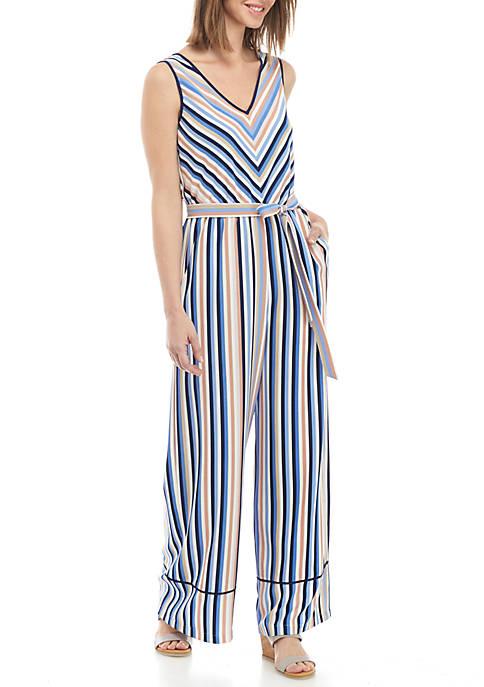 Luxology™ Sleeveless V-Neck Stripe Jumpsuit