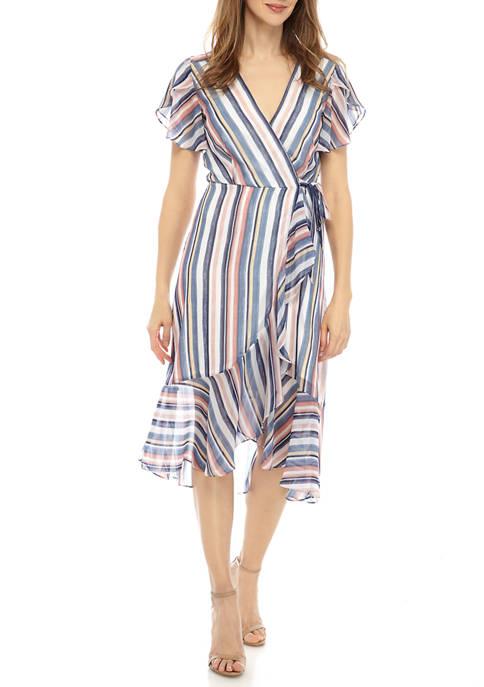 Lux II Womens Multi Stripe Ruffle Wrap Dress