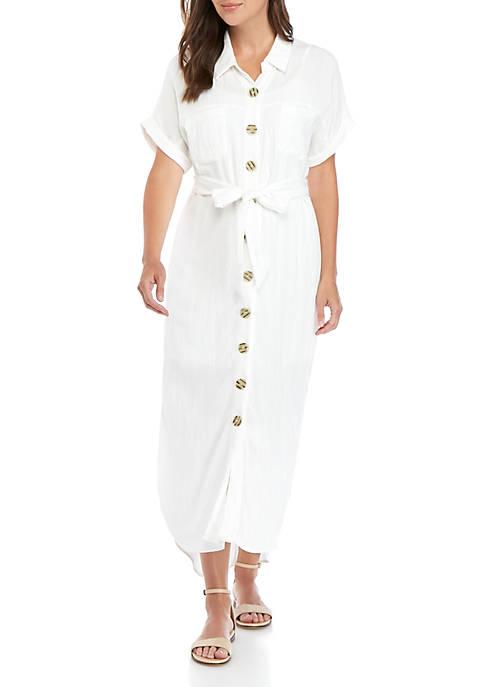 Luxology™ Button Front Selt Belt Linen Dress