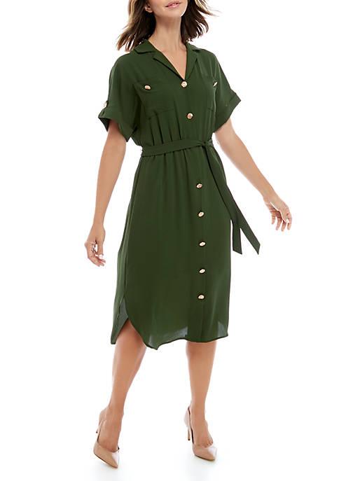 Short Roll Tab Sleeve Shirt Dress