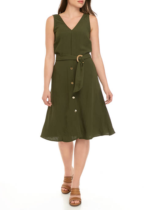 Lux II Womens V-Neck Belted Button Dress