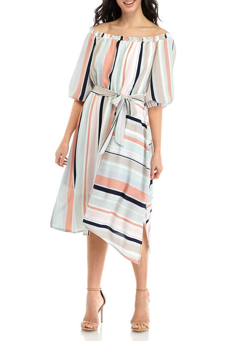 Womens Multi Stripe Off the Shoulder Dress
