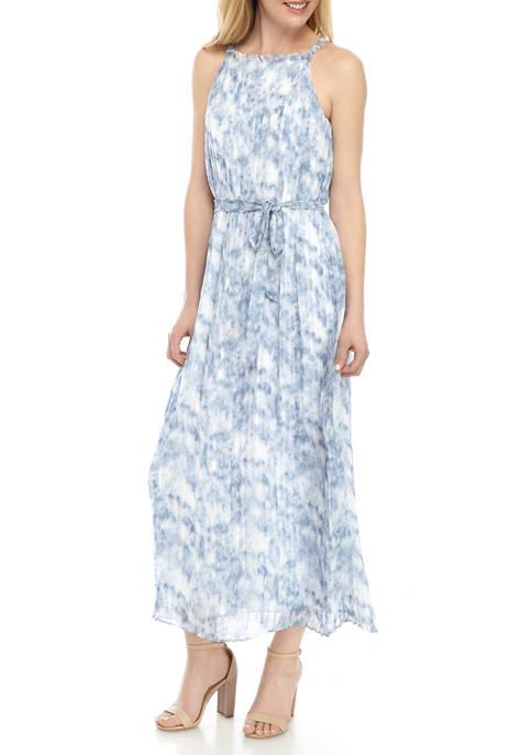 Womens Pleated Halter Tie Waist Dress