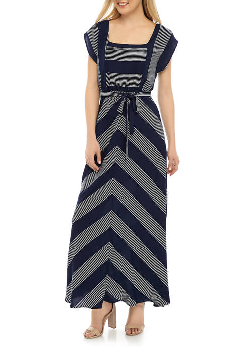 Womens Square Neck Striped Belted Dress