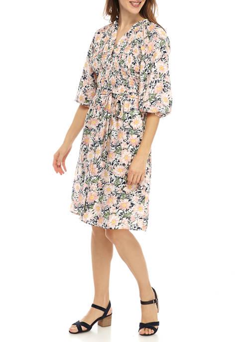 Luxology™ Womens Blouson Sleeve Smocked Tie Waist Dress