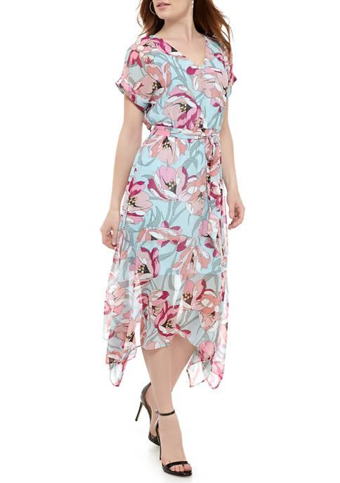 Luxology™ Womens V-Neck Belted Shark Bite Dress