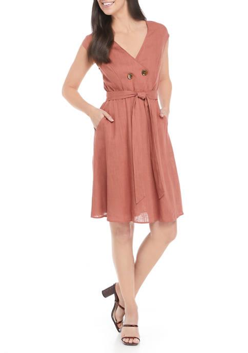 Luxology™ Surplice Button Linen Midi Dress