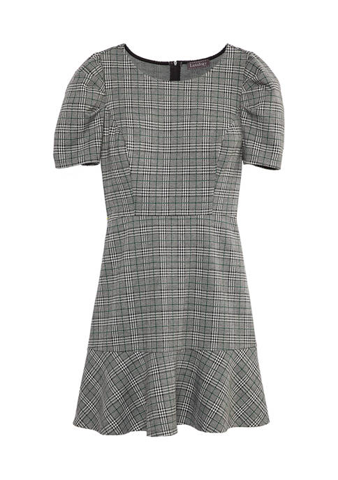 Lux II Womens Ruched Sleeve Flare Hem Dress
