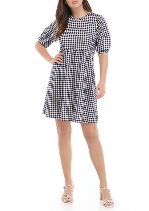 Womens Puff Sleeve Gingham Babydoll Dress