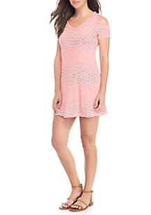 Cold-Shoulder Stripe Shift Dress