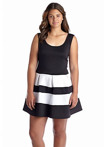 Madison Leigh Plus Size Colorblock Fit And Flare Dress Belk