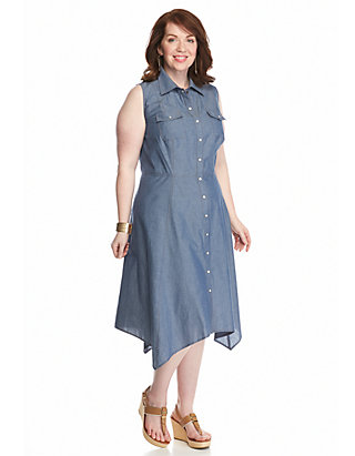 Madison Leigh Plus Size Chambray Shirt Dress   belk
