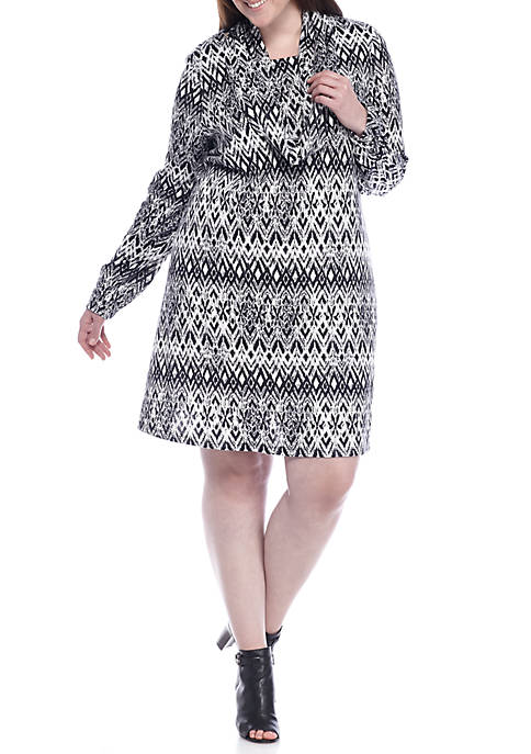 Plus Size Printed Trapeze Dress with Infinity Scarf