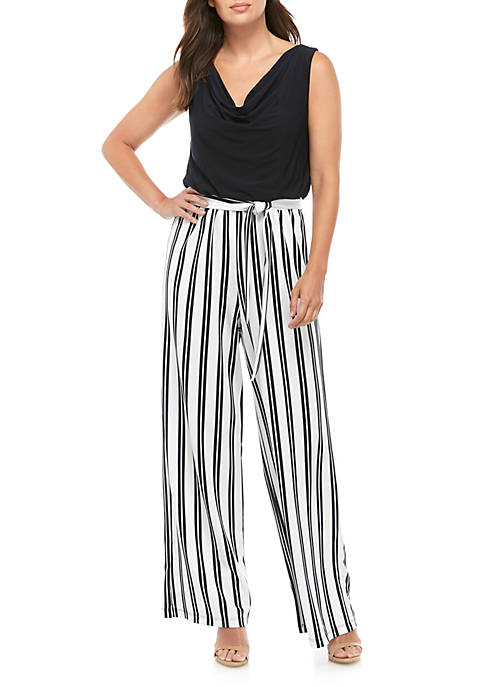 Sleeveless Solid Top Striped Bottom Jumpsuit