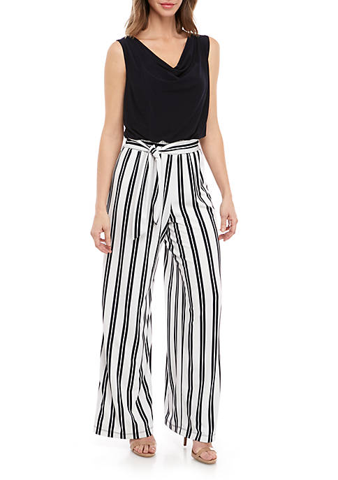 Emma & Michelle Sleeveless Solid Top Striped Pant