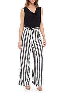 bd24a2a12e1 ... Emma   Michelle Sleeveless Solid Top Striped Pant Jumpsuit