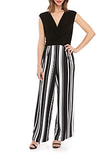 71739446820 ... Emma   Michelle Cap Sleeve Solid Top Striped Pant Jumpsuit