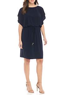 Cap Sleeve Drawstring Dress