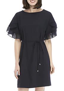 Short Ruffle Sleeve Day Dress with Tie Waist