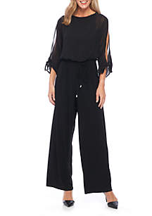 Sheer Overlay Open Sleeve Jumpsuit