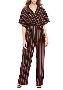 Stripe V-Neck Jumpsuit