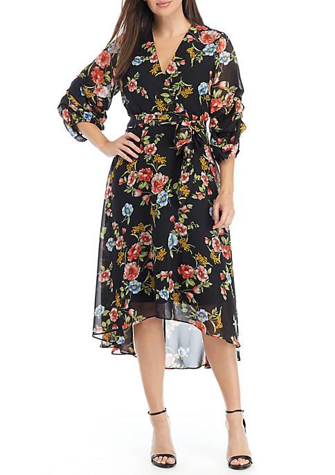 Emma & Michelle Chandelier Sleeve Chiffon Wrap Dress