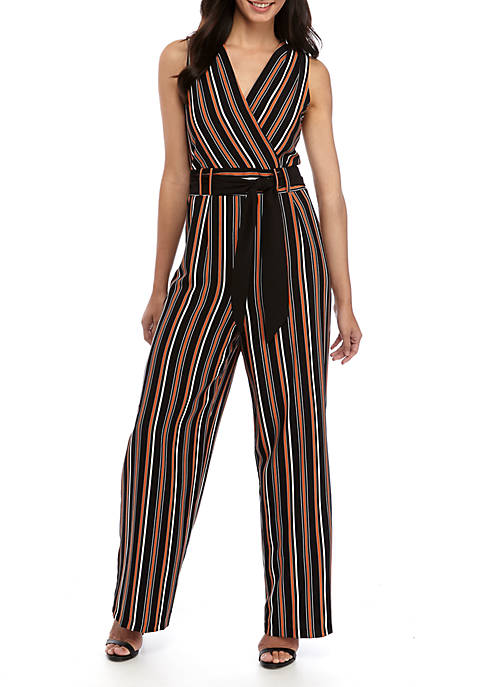 Emma & Michelle Sleeveless Crepe Striped Jumpsuit