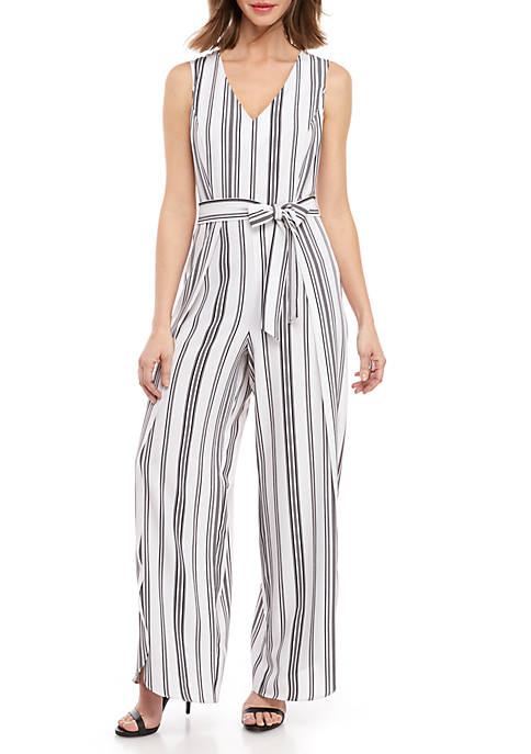 Emma & Michelle Sleeveless Stripe V Neck Jumpsuit
