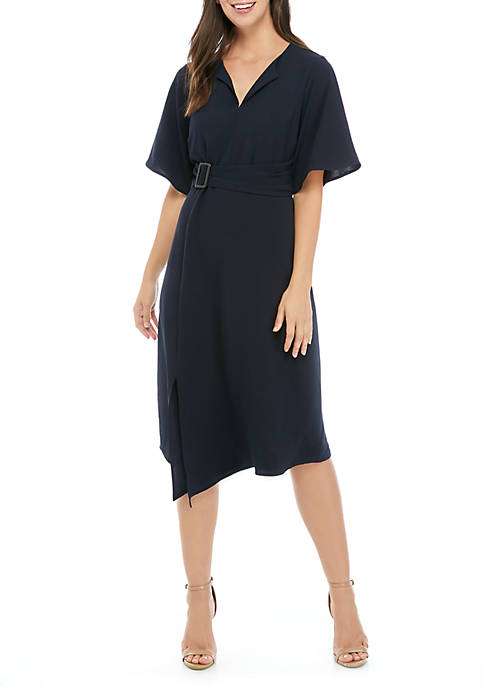 Emma & Michelle Short Sleeve Asymmetrical Hem Dress