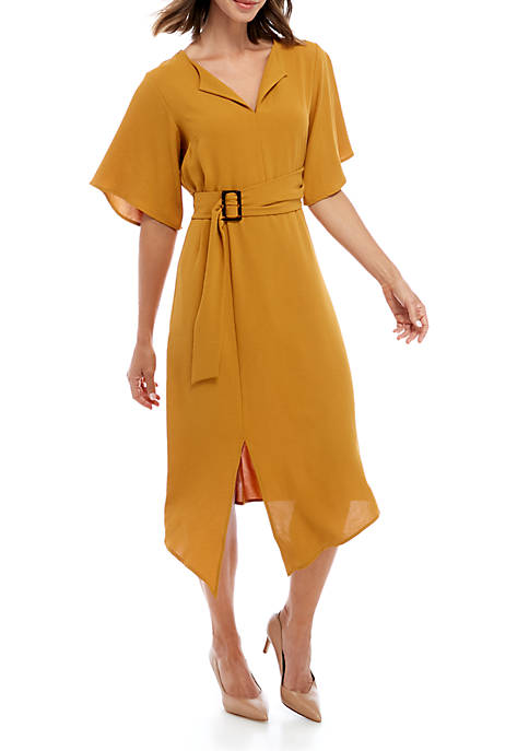 Emma & Michelle Short Sleeve Asymmetrical Hem Dress