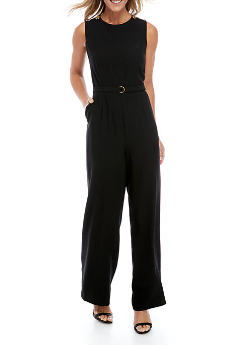 Sleeveless Belted Jumpsuit with Grommet Details