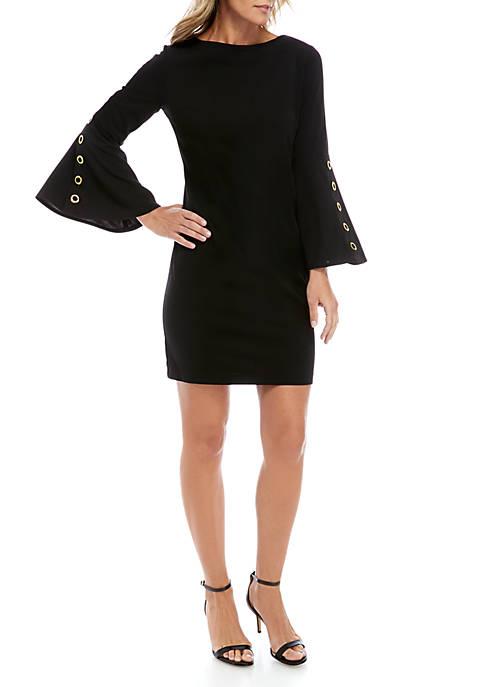 Grommet Flare Sleeve Shift Dress