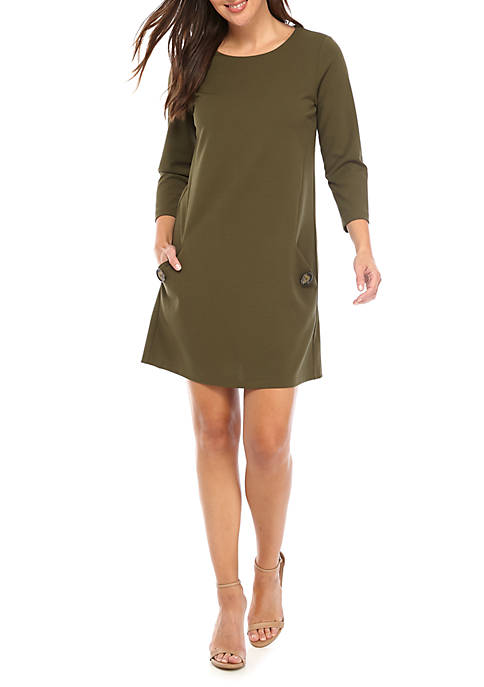 3/4 Sleeve Shift Dress with Button Pockets