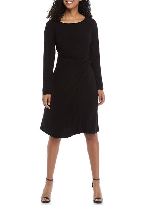 Womens Long Sleeve Knot Front Knit Dress