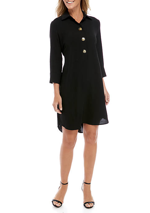 3/4 Sleeve Shirt Dress with Tie Detail