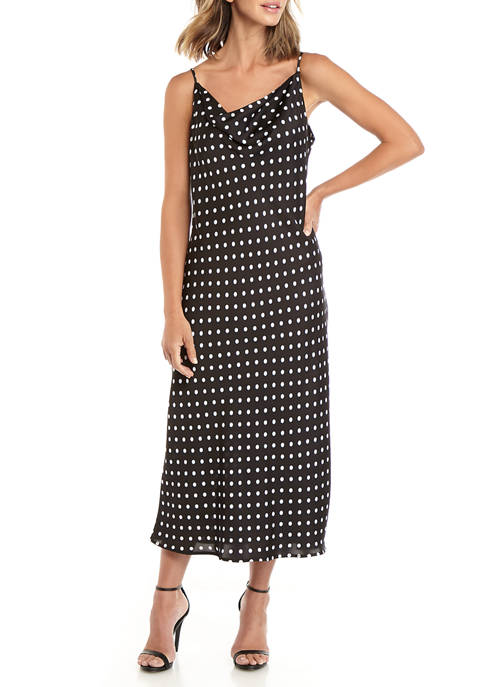 Womens Camisole Dot Satin Drape Midi Dress