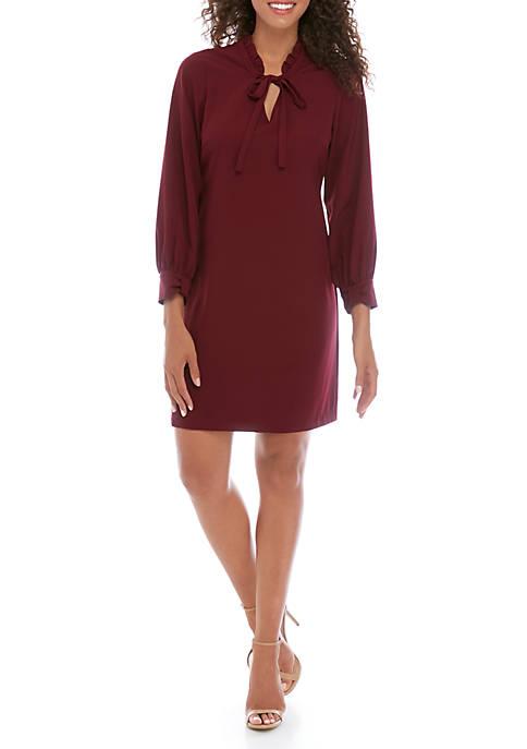Womens Long Sleeve Ruffle Shift Dress