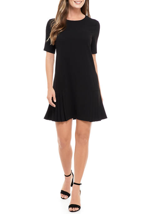 Womens Side Pleat Hem Shift Dress