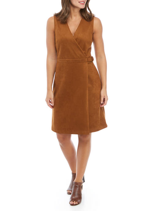 Womens Sleeveless Faux Suede Dress