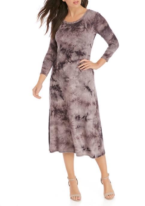 Womens Tie Dye Rib Midi Dress