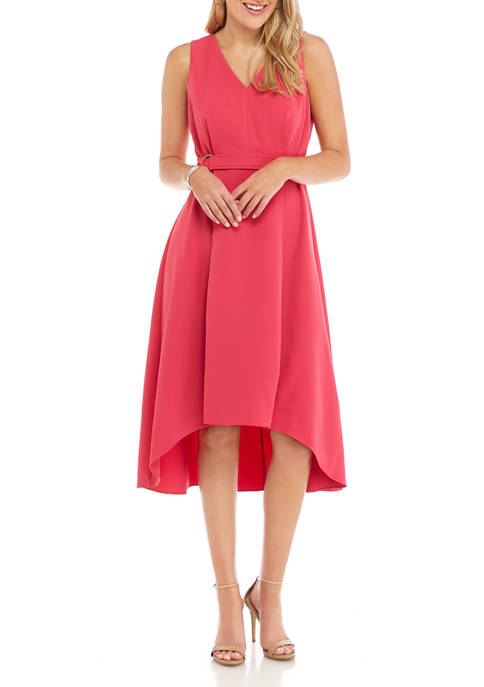 Emma & Michelle Womens V-Neck Belted Dress