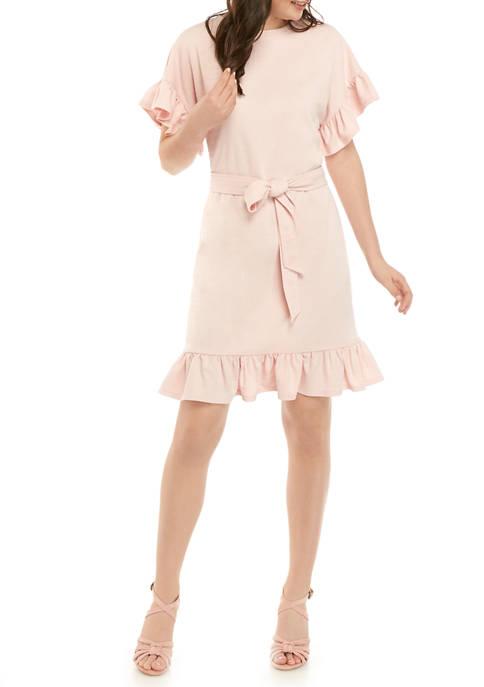 Womens Ruffle Sleeve and Hem Dress with Tie Waist