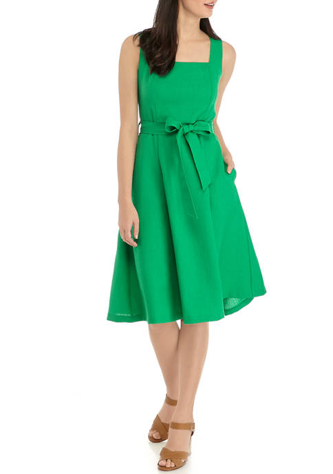 Emma & Michelle Womens Square Neck Tie Dress