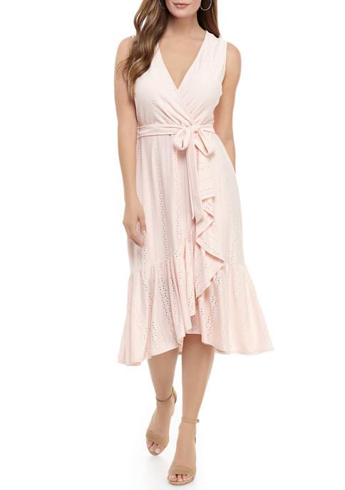 Womens Ruffle Knit Eyelet Dress